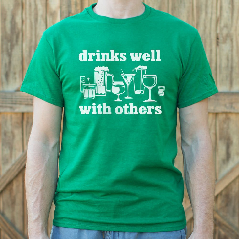 Drinks Well With Others T-Shirt (Mens)-Mens T-Shirt-SJI Shop