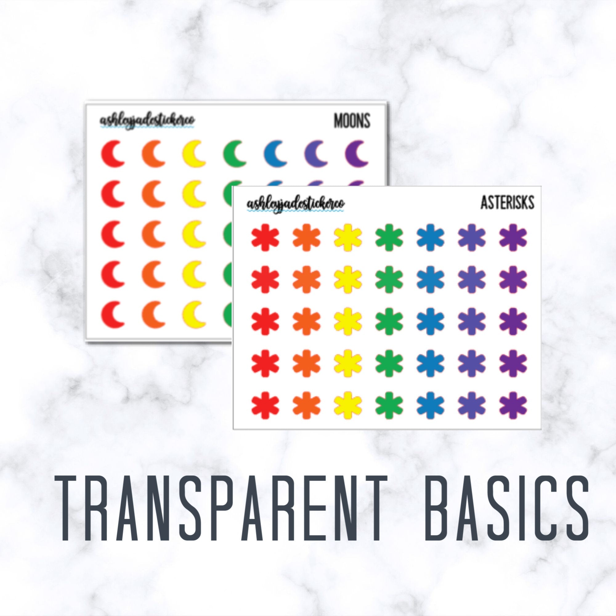 Transparent Basics - Rainbow Icons - Moon | Star | Asterisk Stickers