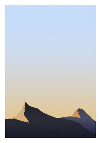 Minimal gradient print inspired by the early morning light on the mountain tops of Geiranger, Norway.