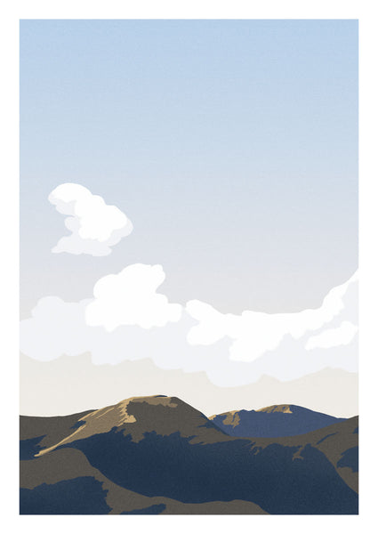 Morning light over the amazing Cat Bells mountain in the Lake District, England's largest National Park.  Inspired by vintage British rail travel posters, the style is limited to a few colours with paired back detailing to keep it calm and minimal.
