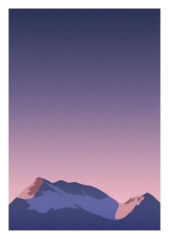 Graphic print inspired by the dramatic pink winter light over Lofoten, Norway. Giclee print on archive grade paper.