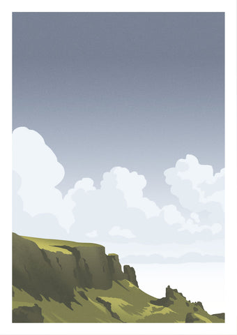 Art print of the green and lush Quiraing landscape on the Isle of Skye, Scotland, with sunshine peeking through stormy clouds.   Inspired by vintage British rail travel posters, the style is limited to a few colours with paired back detailing to keep it calm and minimal.