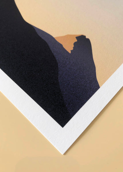 Detail of minimal gradient print inspired by the early morning light on the mountain tops of Geiranger, Norway.