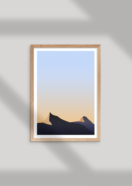 Framed minimal gradient print inspired by the early morning light on the mountain tops of Geiranger, Norway.