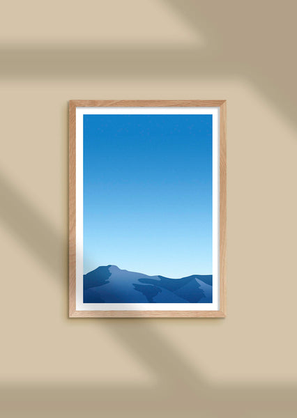Framed graphic print of the 'blue hour' over the mountain tops of Svalbard.