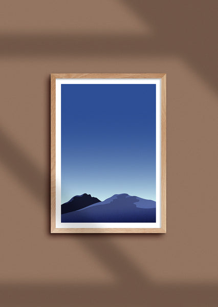 Framed graphic print of mountains of Tromsø, Norway during the 'blue hour'.