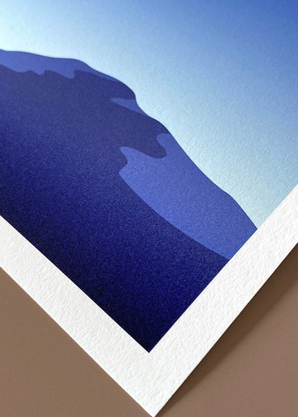 Detail of graphic print of mountains of Tromsø, Norway during the 'blue hour'.