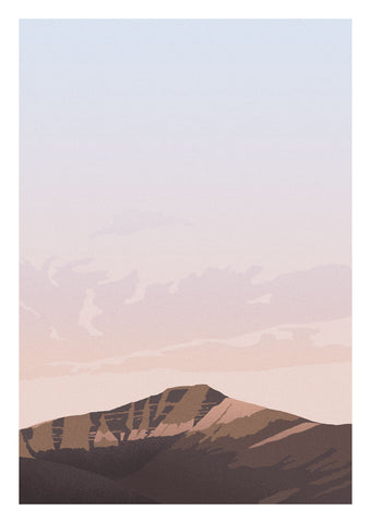 Art print of beautiful Pen y Fan in the Brecon Beacons National Park, Wales.   Inspired by vintage British rail travel posters, the style is limited to a few colours with paired back detailing to keep it calm and minimal.