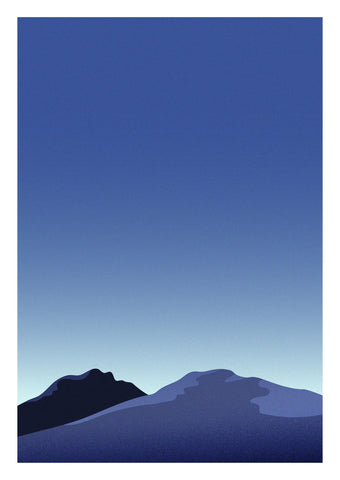 Graphic print of mountains of Tromsø, Norway during the 'blue hour'.