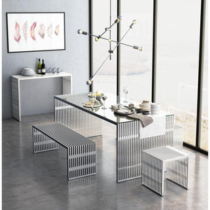 Novel Single Bench Brushed Stainless Steel