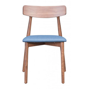 Newman Dining Chair Walnut & Blue