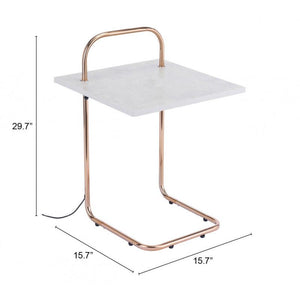 Essex Wireless Charging Side Table Gray & Gold