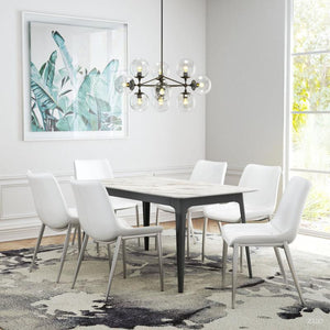 Magnus Dining Chair White & Brushed Stainless Steel