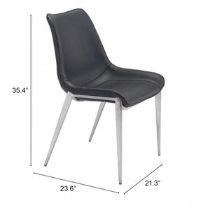 Magnus Dining Chair Black & Brushed Stainless Steel
