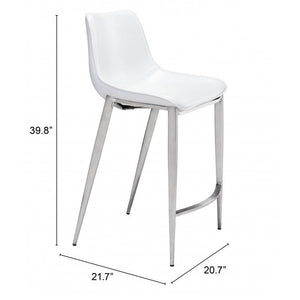 Magnus Counter Chair White & Brushed Stainless Steel