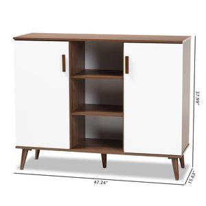 Baxton Studio Quinn Mid-Century Modern Two-Tone White and Walnut Finished 2-Door Wood Dining Room Sideboard