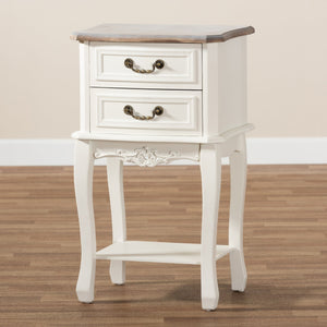 Baxton Studio Amalie Antique French Country Cottage Two-Tone White and Oak Finished 2-Drawer Wood Nightstand