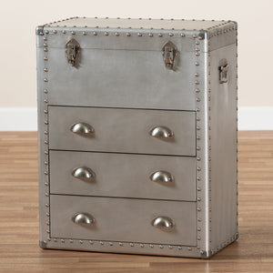 Baxton Studio Serge French Industrial Silver Metal 3-Drawer Accent Storage Chest