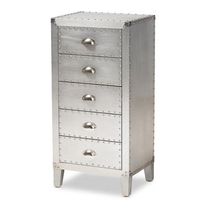 Baxton Studio Carel French Industrial Silver Metal 5-Drawer Accent Chest