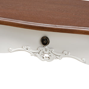 Baxton Studio Sophie Classic Traditional French Country White and Brown Finished Large 3-Drawer Wood Console Table