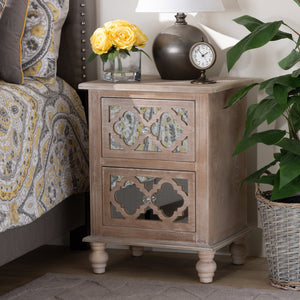 Baxton Studio Celia Transitional Rustic French Country White-Washed Wood and Mirror 2-Drawer Quatrefoil Nightstand