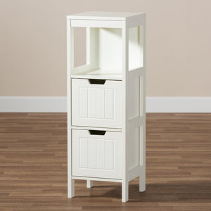 Baxton Studio Reuben Cottage and Farmhouse White Finished 2-Drawer Wood Storage Cabinet