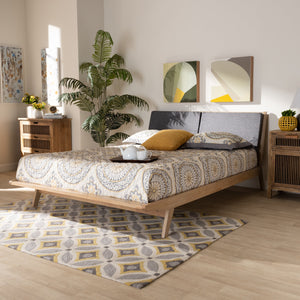 Baxton Studio Emile Modern and Contemporary Grey Fabric Upholstered Natural Oak Finished Wood Queen Size Platform Bed
