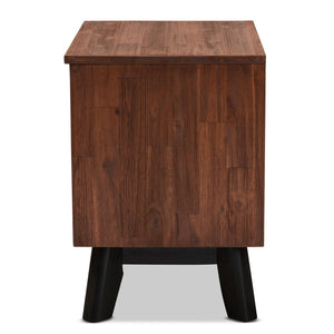 Baxton Studio Calla Modern and Contemporary Brown and Black Oak Finished 2-Drawer Wood Nightstand