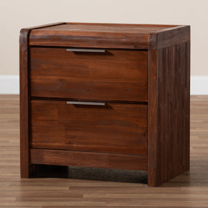 Baxton Studio Torres Modern and Contemporary Brown Oak Finished 2-Drawer Wood Nightstand