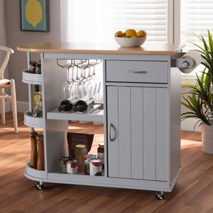 Baxton Studio Donnie Coastal and Farmhouse Two-Tone Light Grey and Natural Finished Wood Kitchen Storage Cart