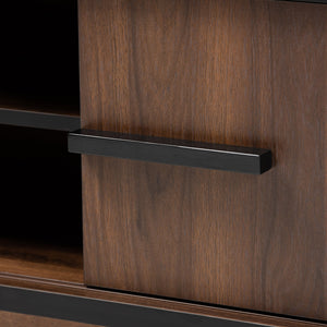 Baxton Studio Margo Mid-Century Modern Two-Tone Walnut Brown and Black Finished Wood Wine Storage Cabinet