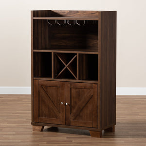 Baxton Studio Carrie Transitional Farmhouse Walnut Brown Finished Wood Wine Storage Cabinet