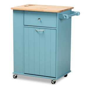 Baxton Studio Liona Modern and Contemporary Sky Blue Finished Wood Kitchen Storage Cart