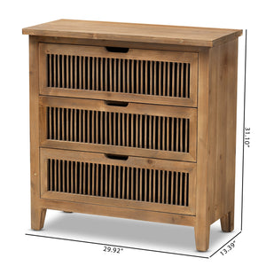 Baxton Studio Clement Rustic Transitional Medium Oak Finished 3-Drawer Wood Spindle Chest