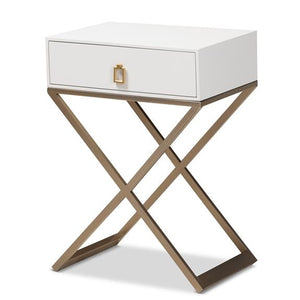 Baxton Studio Patricia Modern and Contemporary White Finished Wood and Brass-Tone Metal 1-Drawer Nightstand