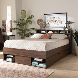 Baxton Studio Tristan Modern and Contemporary Walnut Brown Finished Wood 1-Drawer Queen Size Platform Storage Bed with Shelves