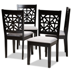 Baxton Studio Devon Modern and Contemporary Grey Fabric Upholstered and Espresso Brown Finished Wood 5-Piece Pub Dining Set