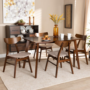 Baxton Studio Lois Mid-Century Modern Transitional Light Beige Fabric Upholstered and Walnut Brown Finished Wood 5-Piece Dining Set