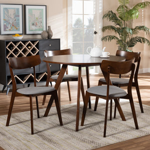 Baxton Studio Rika Mid-Century Modern Transitional Light Grey Fabric Upholstered and Walnut Brown Finished Wood 5-Piece Dining Set