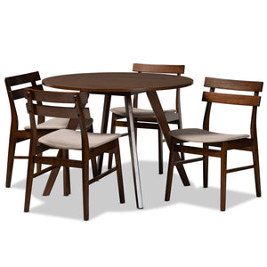 Baxton Studio Eiko Mid-Century Modern Transitional Light Beige Fabric Upholstered and Walnut Brown Finished Wood 5-Piece Dining Set