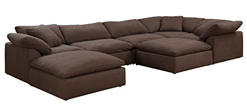 Cloud Puff 7 Piece Slipcovered Modular Sectional Sofa with Ottomans | Performance Fabric | Brown by Sunset Trading