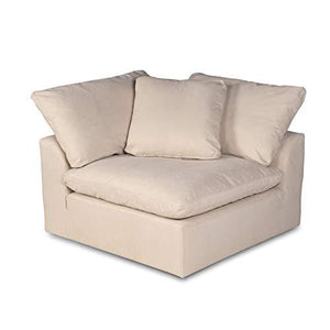 Cloud Puff Sectional Sofa with Ottoman, Configurable, Tan by Sunset Trading