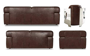 Milan 2 Piece Leather Living Room Set | Sofa | Loveseat, Deep Seating, Brown by Sunset Trading