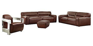 4-Pc Living Room Leather Furniture Set in Brown by Sunset Trading