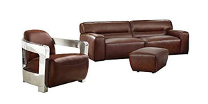 Milan 3 Piece Leather Living Room Set | Sofa | Aviator Chair with Chrome Arms | Ottoman, Deep Seating, Brown by Sunset Trading