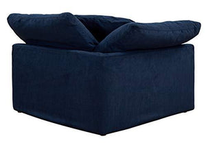 Cloud Puff Sectional, 4 Piece Slipcovered L Shaped Modular Sofa | Couch with Removable, Washable Performance Fabric Slipcovers, Configurable, Navy Blue by Sofa