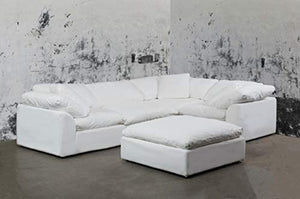 Cloud Puff 5 Piece Modular Performance White Sectional Slipcovered Sofa by Sunset Trading