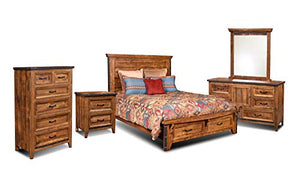 Rustic City King Bedroom Set, Bed Storage Drawers, Natural Oak by Sunset Trading