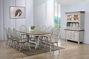 Country Grove Dining Set, 3 Size, Distressed Light Gray and Medium Walnut by Sunset Trading