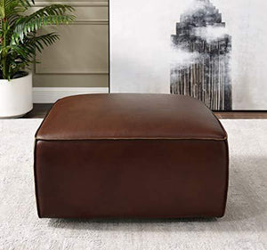 Milan 2 Piece Leather Living Room Set | Sofa with Ottoman, Deep Seating, Brown by Sunset Trading